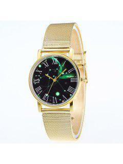 Roman Numerals Dial Stainless Steel Watch - Golden