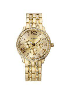 Rhinestoned Stainless Steel Watch - Golden