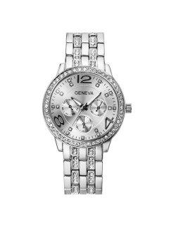 Rhinestoned Stainless Steel Watch - Silver