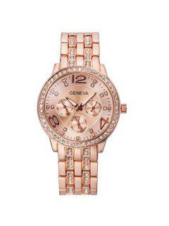 Montre Rhinestoned En Acier Inoxydable - Or Rose