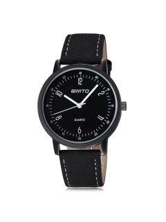 GIMTO Artificial Leather Cloth Wrist Watch - Black