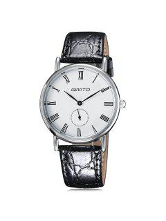 GIMTO Roman Numerals Artificial Leather Watch - Silver
