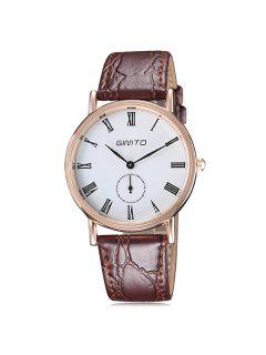 GIMTO Roman Numerals Artificial Leather Watch - Golden