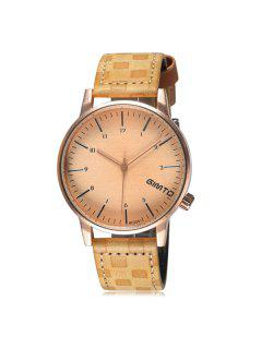 GIMTO Artificial Leather Quartz Vintage Watch - Yellow
