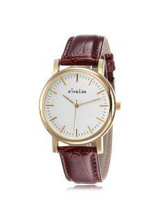 Artificial Leather Wrist Watch - Golden