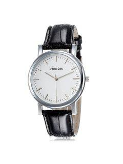 Artificial Leather Vintage Wrist Watch - Silver