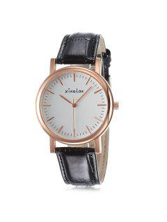 Artificial Leather Vintage Wrist Watch - Rose Gold