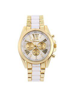 Roman Numerals Steel Watch - White