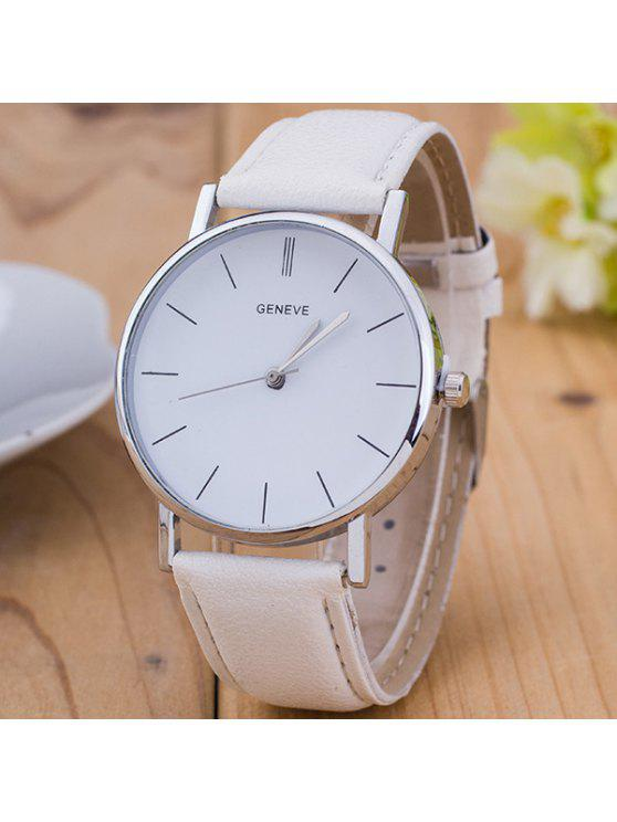 fashion Vintage PU Leather Watch - WHITE