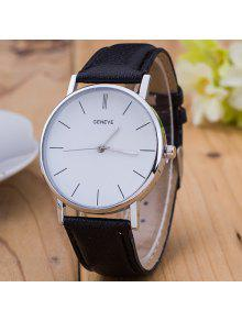 Reloj De Cuero Vintage PU - Negro