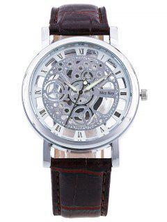 Roman Numerals Hollow Out Dial Quartz Watch - Silver