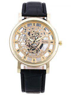Roman Numerals Hollow Out Dial Quartz Watch - Golden