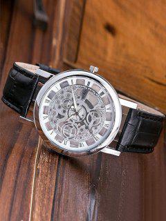 Roman Numerals Hollow Out Dial Quartz Watch - Black