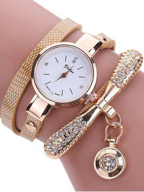 outfit Rhinestone PU Leather Wristband Bracelet Watch - OFF-WHITE