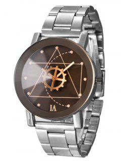 Geometric Gear Dial Stainless Steel Watch - Black