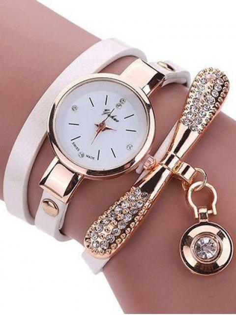 new Rhinestone PU Leather Wristband Bracelet Watch - WHITE  Mobile