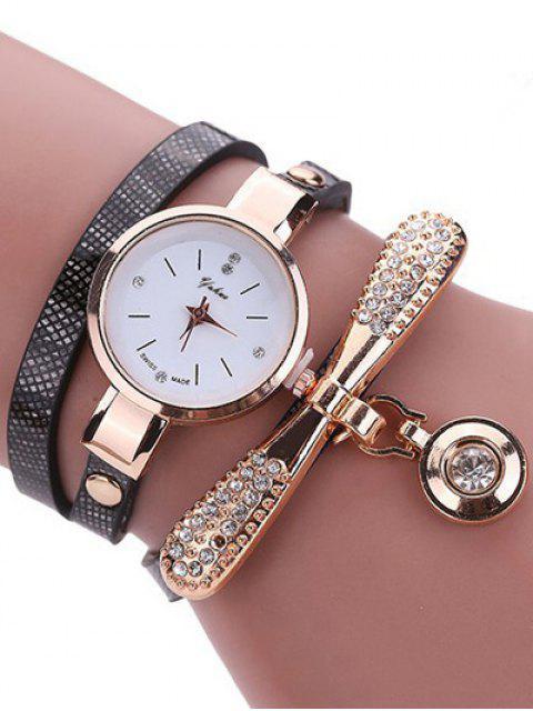 Montre-bracelet a manches en cuir avec faux diamants - Noir  Mobile