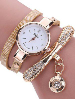 Rhinestone PU Leather Wristband Bracelet Watch - Off-white