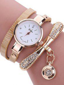 Diamante De Imitación Cuero De PU De Pulsera De Reloj Brazalete - Blancuzco