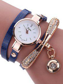 Rhinestone PU Leather Wristband Bracelet Watch - Blue