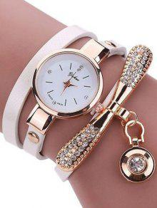 Rhinestone PU Leather Wristband Bracelet Watch - White