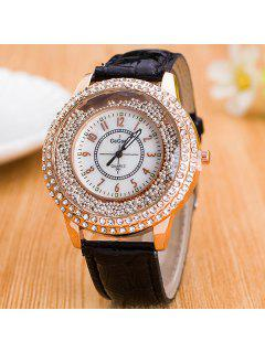 Rhinestone Quicksand Beads Quartz Watch - Black