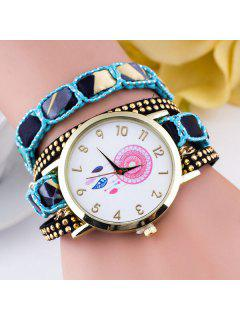 Feather Floral Wrap Bracelet Quartz Watch - Blue