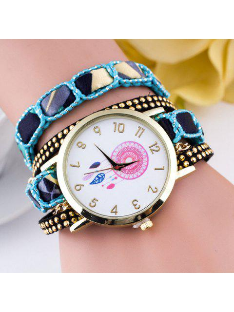new Feather Floral Wrap Bracelet Quartz Watch - BLUE  Mobile