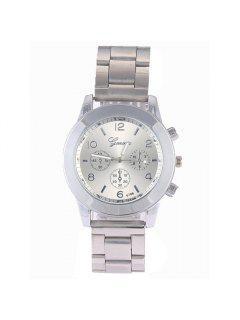 Vintage Steel Band Embellished Quartz Watch - Silver