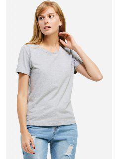 T-Shirt à Col Rond - Gris S