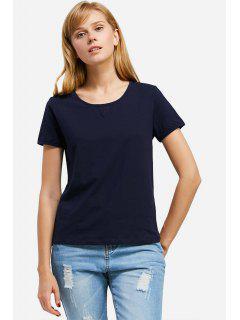 T-Shirt à Col Rond  - Bleu Profond S