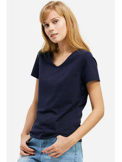T-Shirt à Col En V  - Bleu Profond S