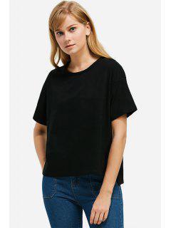 Runder Halsausschnitt Seitliches Schlitz T-Shirt - Schwarz M