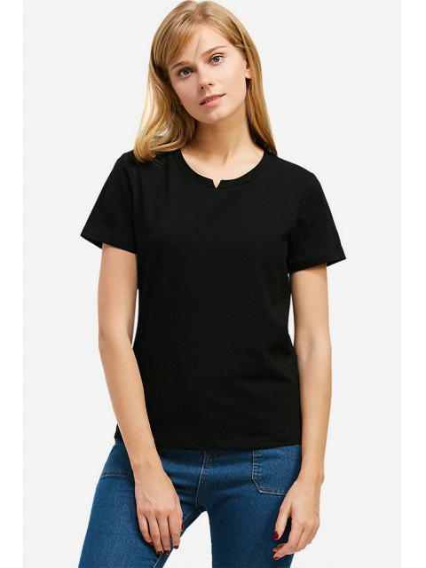 lady ZAN.STYLE Slit Crew Neck T Shirt - BLACK M Mobile