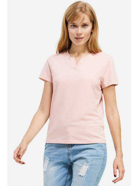 fancy ZAN.STYLE Split Neck T-shirt - PINK L Mobile