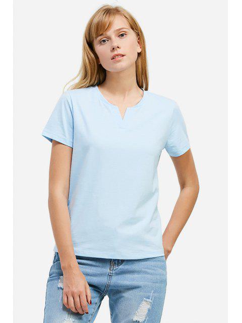 Camiseta con Cuello de V - Azul Claro 2XL Mobile