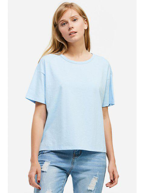 affordable ZAN.STYLE Box Cut Side Slit T-shirt - LIGHT BLUE M Mobile