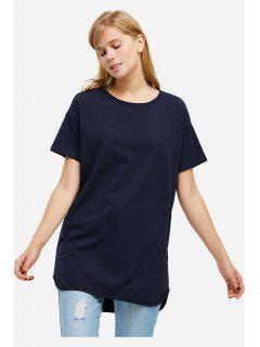 ZANSTYLE Camiseta Color Azul Oscuro Cuello Redondo Para Mujer  - Marina De Guerra S