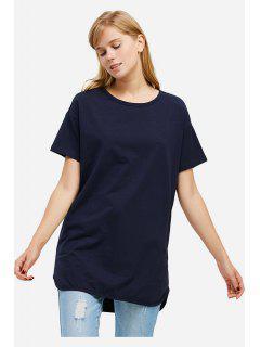 ZANSTYLE Camiseta Color Azul Oscuro Cuello Redondo Para Mujer  - Azul Profundo S