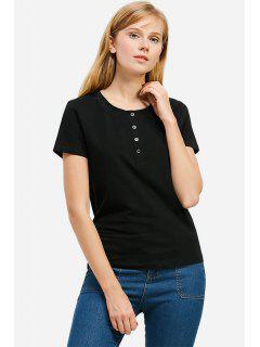 ZANSTYLE Camiseta Color Azul Claro Cuello Redondo Para Mujer  - Negro S