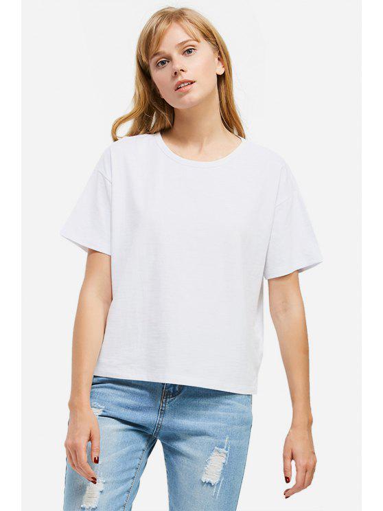 ladies ZAN.STYLE Box Cut Side Slit T-shirt - WHITE XL