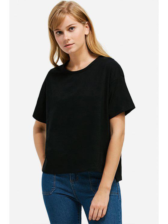 shop ZAN.STYLE Box Cut Side Slit T-shirt - BLACK S