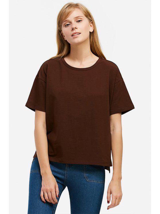 trendy ZAN.STYLE Box Cut Side Slit T-shirt - COFFEE L