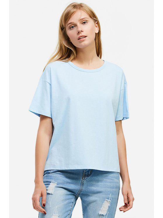 affordable ZAN.STYLE Box Cut Side Slit T-shirt - LIGHT BLUE M