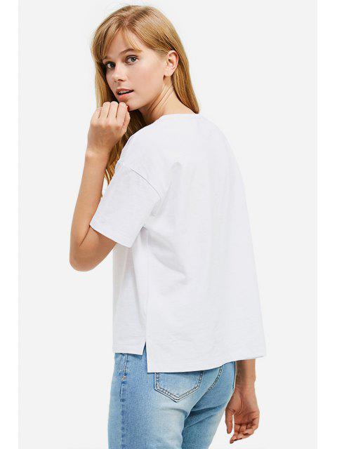 ladies ZAN.STYLE Box Cut Side Slit T-shirt - WHITE XL Mobile