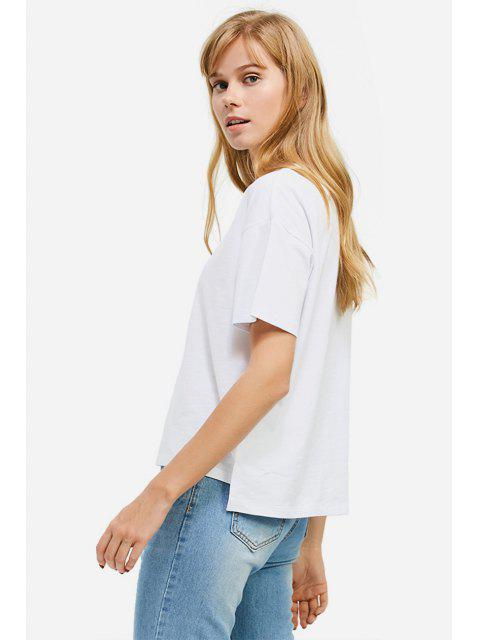 best ZAN.STYLE Box Cut Side Slit T-shirt - WHITE M Mobile