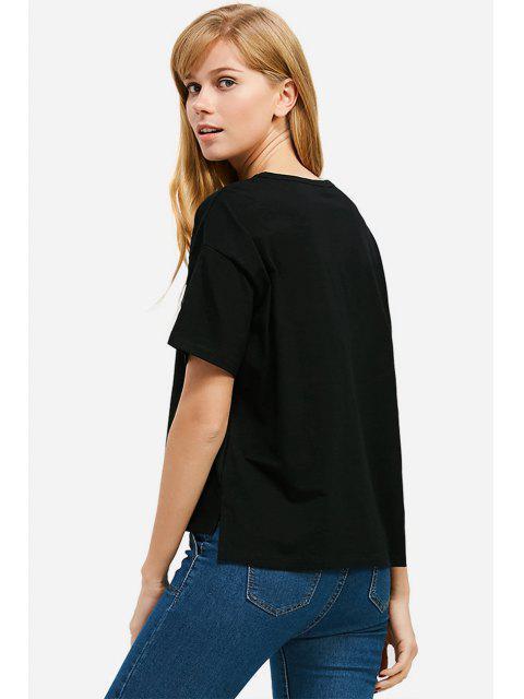 new ZAN.STYLE Box Cut Side Slit T-shirt - BLACK 2XL Mobile