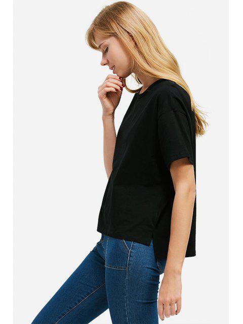 shop ZAN.STYLE Box Cut Side Slit T-shirt - BLACK S Mobile