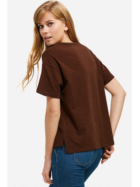 trendy ZAN.STYLE Box Cut Side Slit T-shirt - COFFEE L Mobile