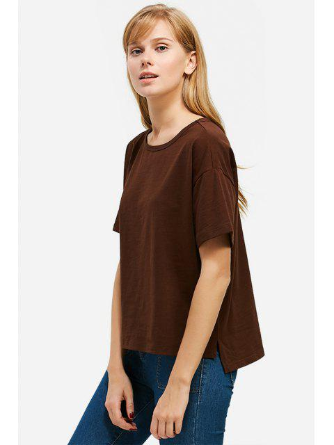 chic ZAN.STYLE Box Cut Side Slit T-shirt - COFFEE S Mobile